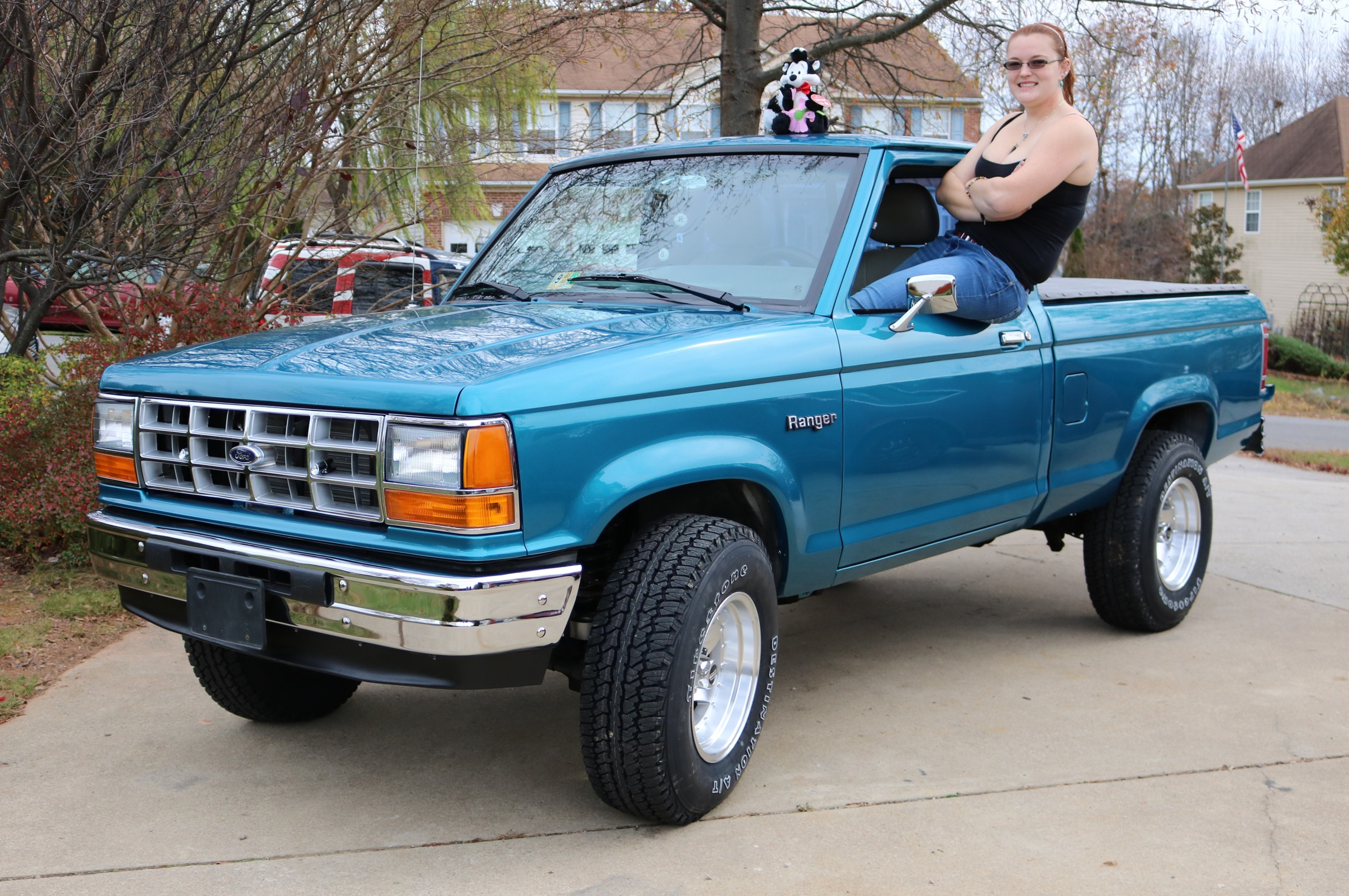 This 1989 ford ranger was purchased as my daughters first vehicle in feb 2008 it didnt look this good when we bought it but the idea was that if she put